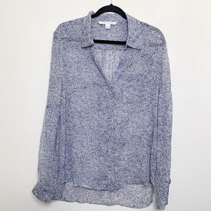 Diane Von Furstenberg Lorelei Two Silk Spot Top
